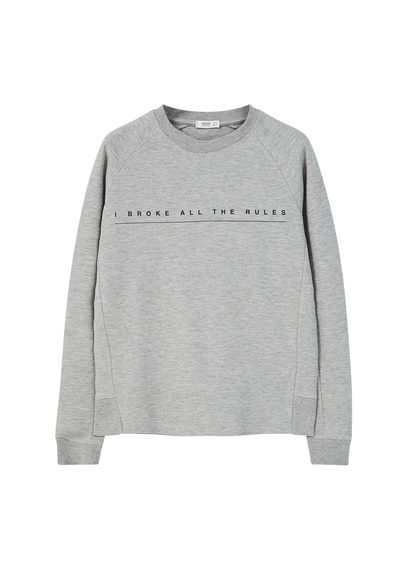 Message Cotton Sweatshirt - style: sweat top; predominant colour: light grey; occasions: casual; length: standard; fibres: cotton - 100%; fit: loose; neckline: crew; sleeve length: long sleeve; sleeve style: standard; pattern type: fabric; texture group: jersey - stretchy/drapey; pattern: graphic/slogan; season: s/s 2016; wardrobe: highlight