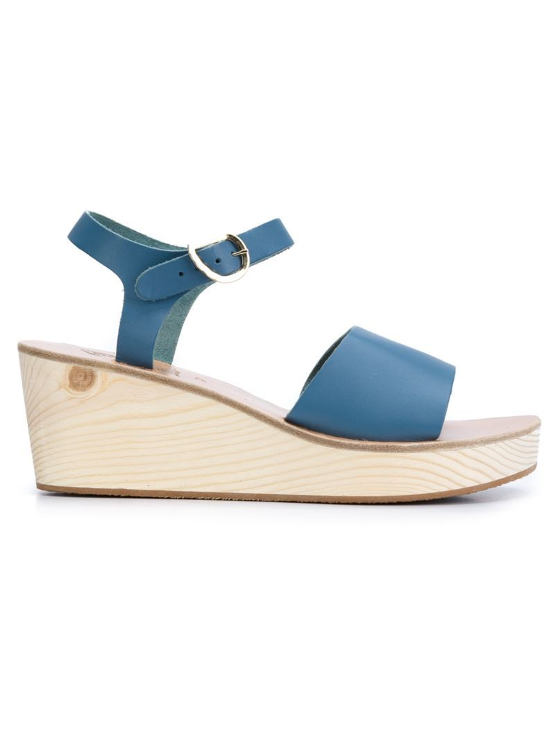 'thalpori' Wedge Sandals, Women's, Size: 41, Blue - predominant colour: royal blue; occasions: casual; material: leather; heel height: mid; heel: wedge; toe: open toe/peeptoe; style: standard; finish: plain; pattern: plain; shoe detail: platform; season: s/s 2016
