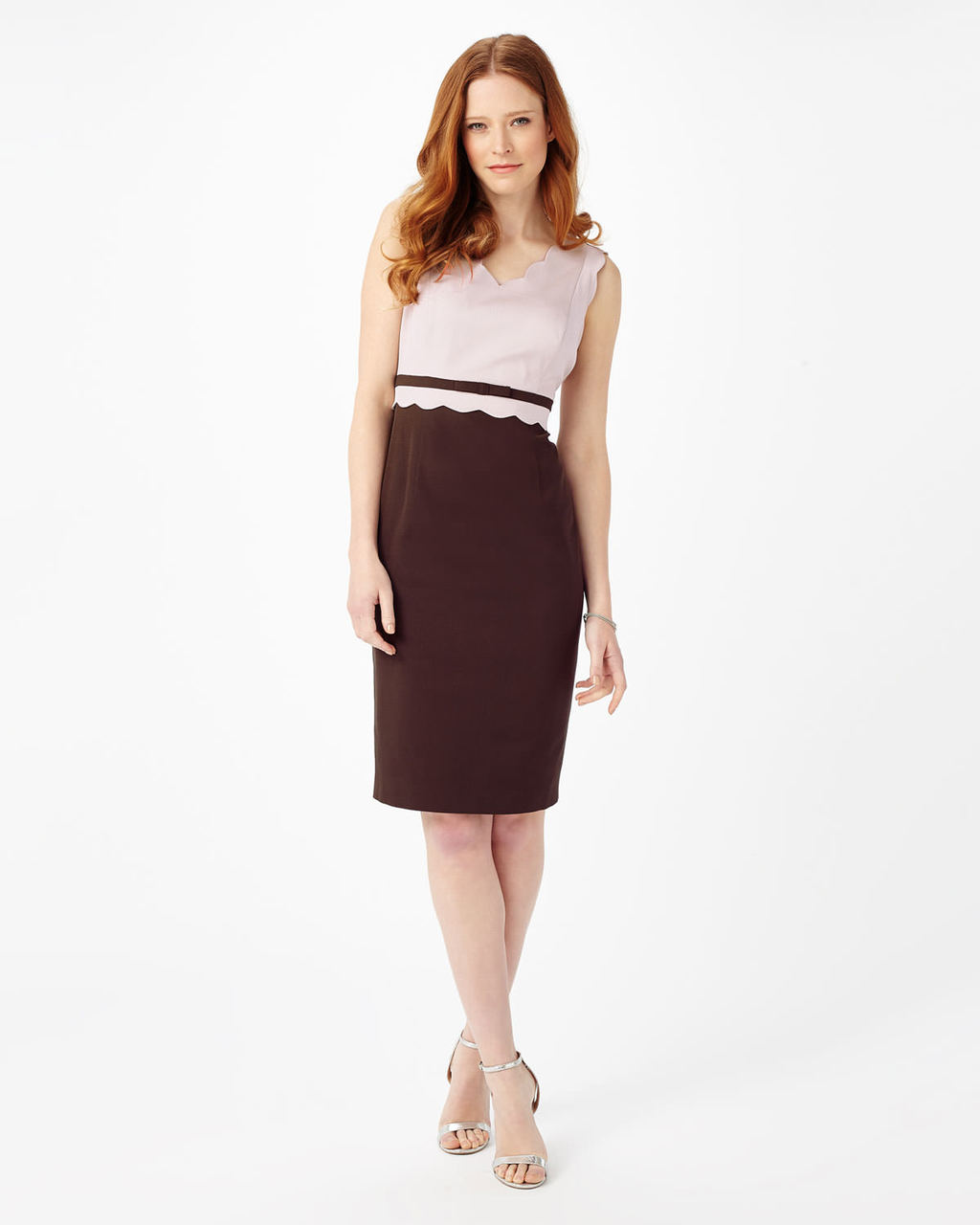 Florence Scallop Dress - style: shift; neckline: v-neck; fit: tailored/fitted; sleeve style: sleeveless; secondary colour: blush; predominant colour: burgundy; occasions: evening; length: on the knee; fibres: viscose/rayon - stretch; sleeve length: sleeveless; texture group: crepes; pattern type: fabric; pattern size: standard; pattern: colourblock; embellishment: lace; multicoloured: multicoloured; season: s/s 2016; wardrobe: event