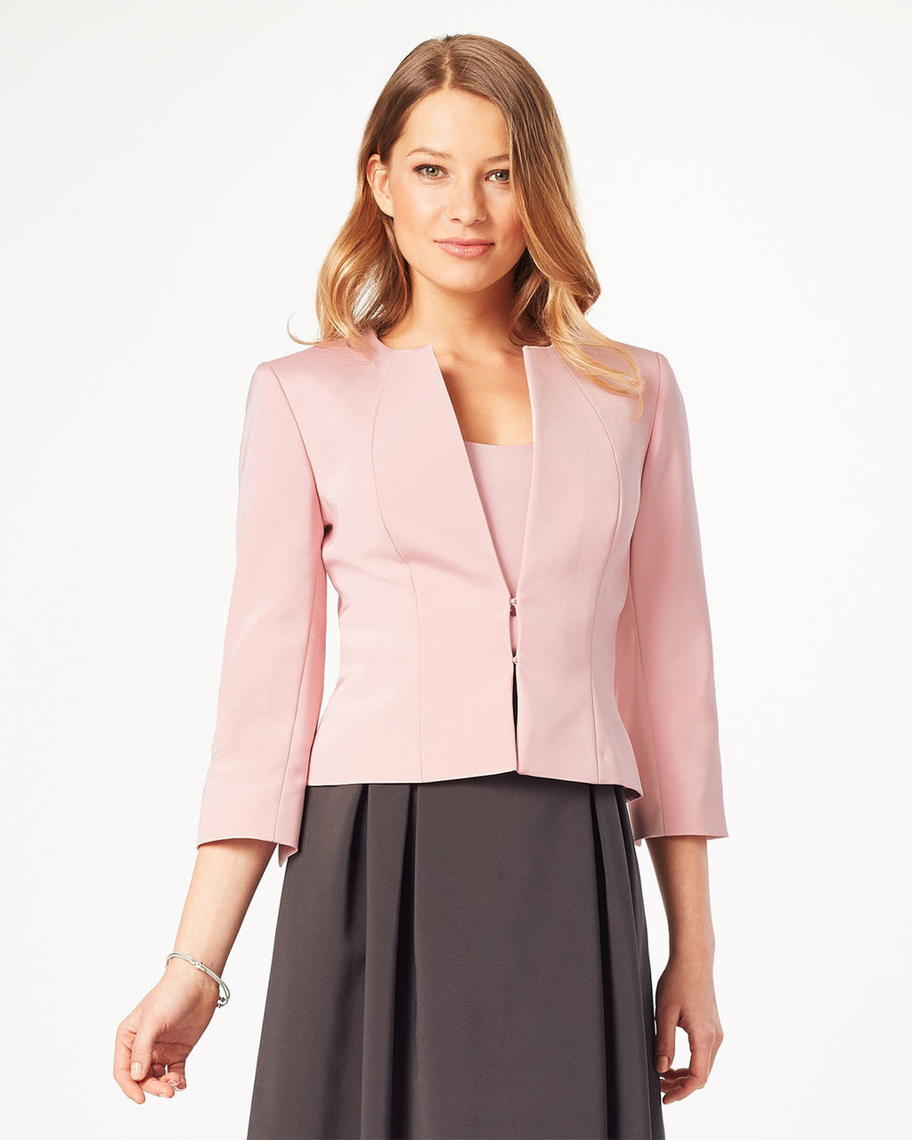 Helena Jacket - pattern: plain; style: single breasted blazer; collar: round collar/collarless; predominant colour: blush; length: standard; fit: tailored/fitted; fibres: polyester/polyamide - 100%; occasions: occasion; sleeve length: 3/4 length; sleeve style: standard; texture group: crepes; collar break: medium; pattern type: fabric; season: s/s 2016; wardrobe: event