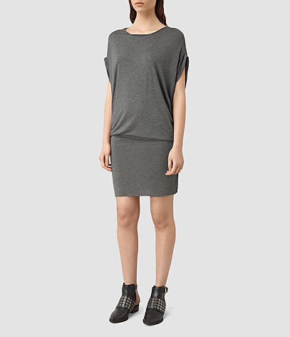 Iris Dress - style: shift; neckline: round neck; sleeve style: capped; pattern: plain; predominant colour: charcoal; occasions: casual, creative work; length: just above the knee; fit: body skimming; fibres: viscose/rayon - 100%; sleeve length: short sleeve; pattern type: fabric; texture group: jersey - stretchy/drapey; season: s/s 2016
