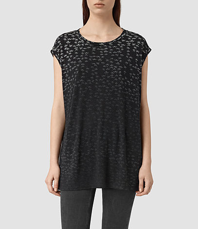 Salix Brooke Tee - sleeve style: capped; length: below the bottom; style: t-shirt; predominant colour: black; occasions: casual, creative work; fit: body skimming; neckline: crew; sleeve length: short sleeve; pattern type: fabric; pattern: patterned/print; texture group: jersey - stretchy/drapey; fibres: viscose/rayon - mix; pattern size: big & busy (top); season: s/s 2016; wardrobe: highlight