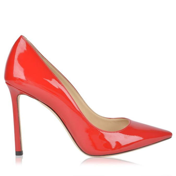 Romy 100 Patent Shoes - predominant colour: true red; occasions: evening, creative work; material: leather; heel height: high; heel: stiletto; toe: pointed toe; style: courts; finish: patent; pattern: plain; season: s/s 2016
