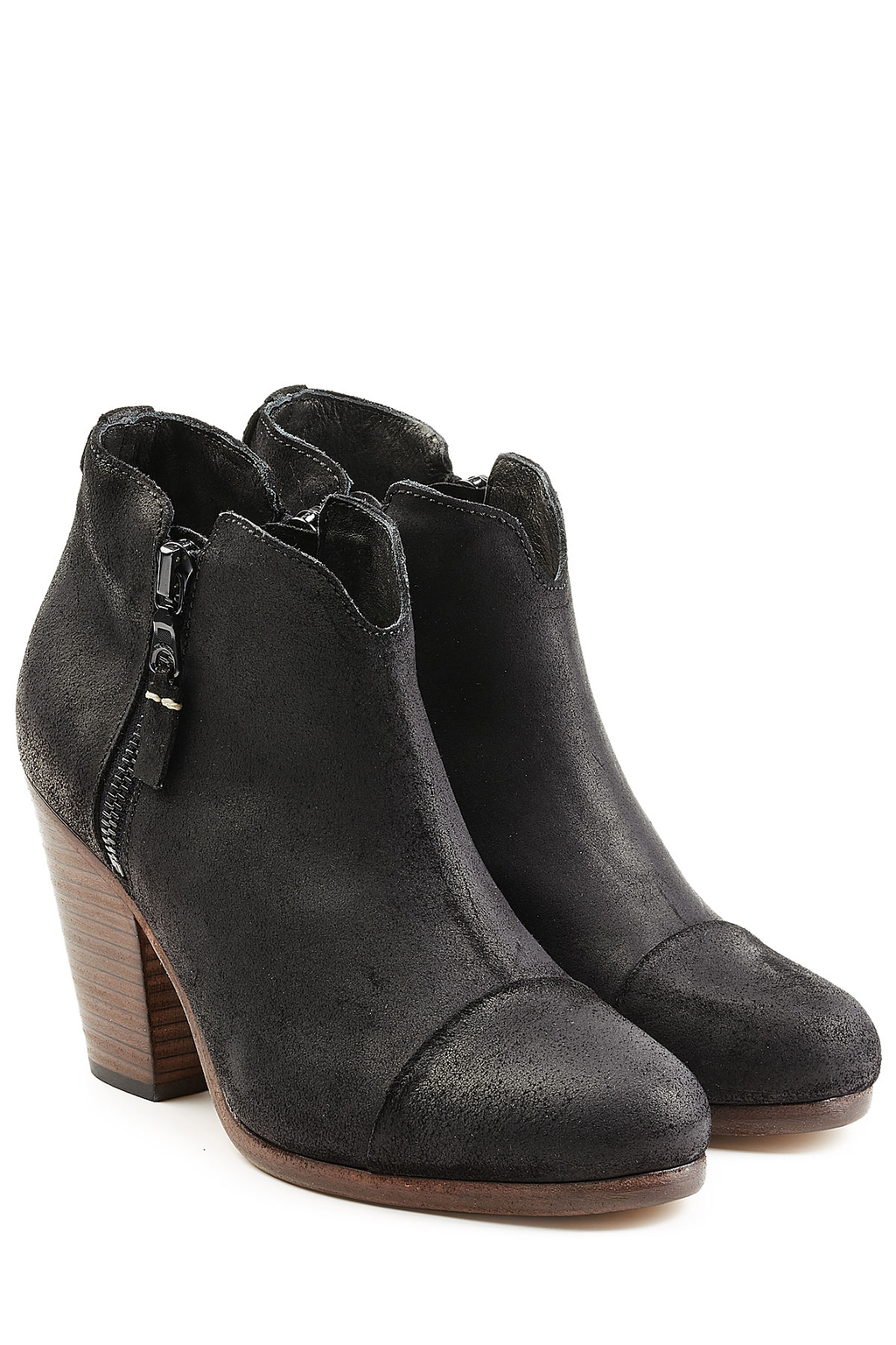 Waxed Suede Ankle Boots Black - predominant colour: black; occasions: casual, creative work; material: leather; heel height: mid; heel: block; toe: round toe; boot length: ankle boot; style: standard; finish: plain; pattern: plain; season: s/s 2016; wardrobe: basic