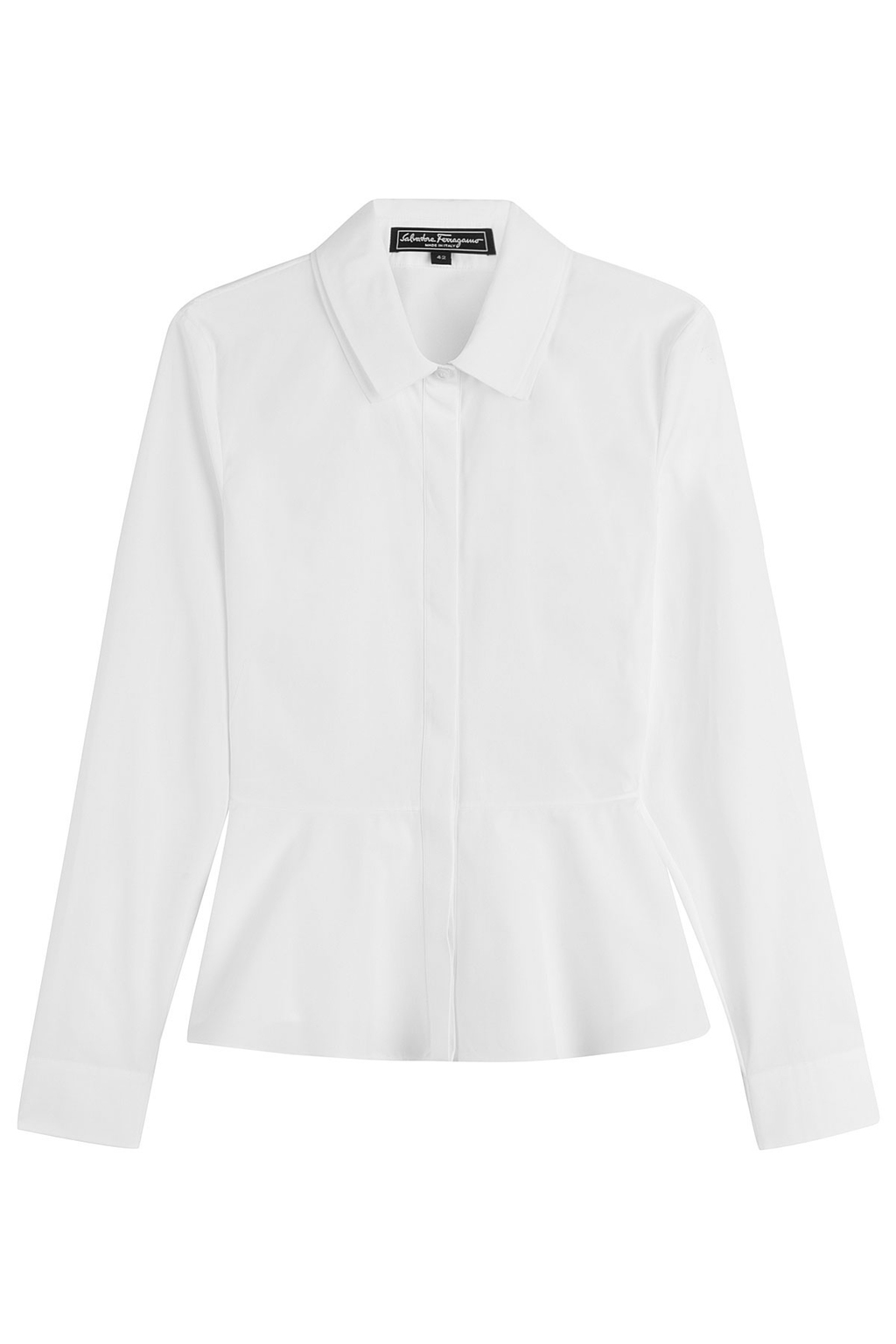 Cotton Shirt With Peplum White - neckline: shirt collar/peter pan/zip with opening; pattern: plain; style: shirt; predominant colour: ivory/cream; length: standard; fibres: cotton - 100%; fit: body skimming; sleeve length: long sleeve; sleeve style: standard; texture group: cotton feel fabrics; pattern type: fabric; occasions: creative work; season: s/s 2016; wardrobe: basic