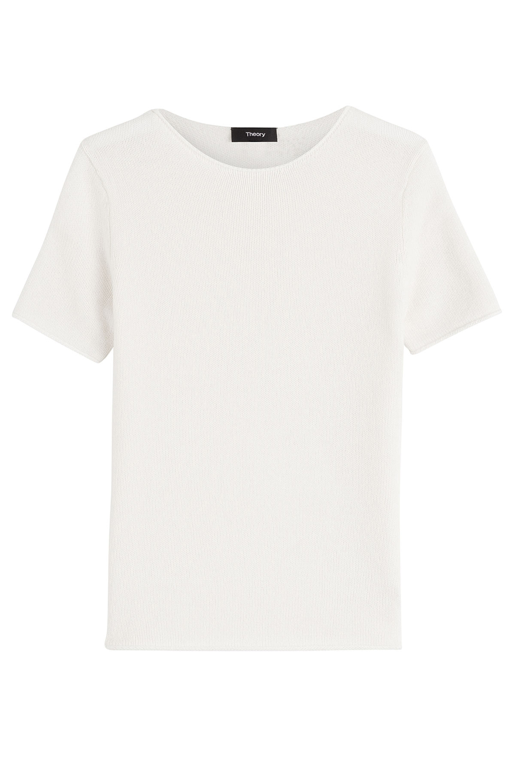 Short Sleeve Cashmere Top - pattern: plain; style: t-shirt; predominant colour: white; occasions: casual; length: standard; fit: body skimming; neckline: crew; fibres: cashmere - 100%; sleeve length: short sleeve; sleeve style: standard; pattern type: fabric; texture group: other - light to midweight; season: s/s 2016; wardrobe: basic