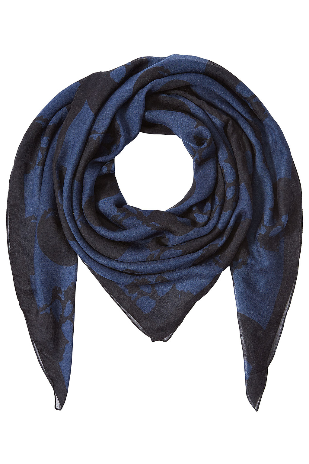 Printed Scarf With Silk - predominant colour: royal blue; secondary colour: black; occasions: casual, creative work; type of pattern: standard; style: square; size: standard; material: silk; pattern: patterned/print; season: s/s 2016; wardrobe: highlight