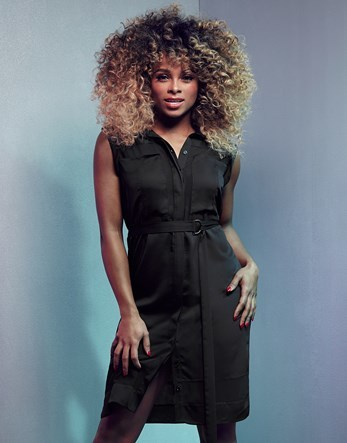 Fleur East Tie Waist Shirt Dress - style: shirt; neckline: shirt collar/peter pan/zip with opening; pattern: plain; sleeve style: sleeveless; predominant colour: black; occasions: casual; length: just above the knee; fit: body skimming; fibres: polyester/polyamide - 100%; sleeve length: sleeveless; pattern type: fabric; texture group: other - light to midweight; season: s/s 2016