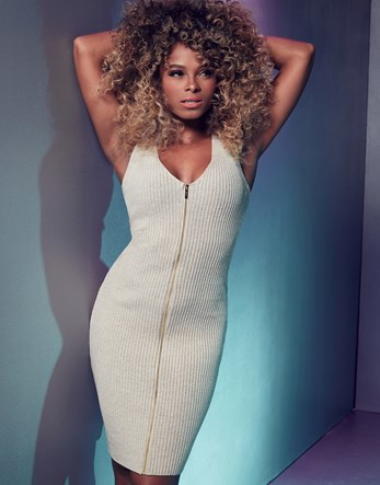 Fleur East Zip Bodycon Dress - neckline: v-neck; fit: tight; pattern: plain; sleeve style: sleeveless; style: bodycon; predominant colour: ivory/cream; occasions: evening; length: on the knee; fibres: cotton - stretch; sleeve length: sleeveless; texture group: jersey - clingy; pattern type: fabric; season: s/s 2016; wardrobe: event