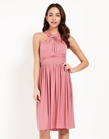 Multi Way Midi Dress - pattern: plain; sleeve style: sleeveless; bust detail: ruching/gathering/draping/layers/pintuck pleats at bust; predominant colour: pink; occasions: evening, occasion; length: on the knee; fit: fitted at waist & bust; style: fit & flare; fibres: polyester/polyamide - stretch; sleeve length: sleeveless; pattern type: fabric; texture group: jersey - stretchy/drapey; season: s/s 2016; neckline: high halter neck
