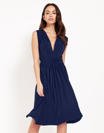 Multiway Midi Dress - length: below the knee; neckline: low v-neck; pattern: plain; sleeve style: sleeveless; predominant colour: navy; fit: fitted at waist & bust; style: fit & flare; fibres: polyester/polyamide - stretch; occasions: occasion; sleeve length: sleeveless; pattern type: fabric; texture group: jersey - stretchy/drapey; season: s/s 2016; wardrobe: event