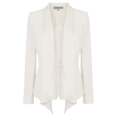 Myalee Draped Jacket, Ivory - pattern: plain; style: single breasted blazer; collar: standard lapel/rever collar; predominant colour: ivory/cream; occasions: casual, creative work; length: standard; fit: tailored/fitted; fibres: polyester/polyamide - stretch; hip detail: subtle/flattering hip detail; sleeve length: long sleeve; sleeve style: standard; collar break: low/open; pattern type: fabric; texture group: woven light midweight; season: s/s 2016; wardrobe: basic