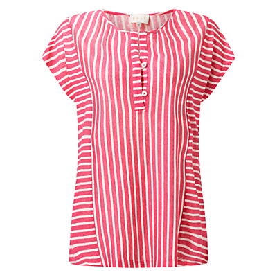 Stripe Jersey Top - pattern: striped; secondary colour: white; predominant colour: pink; occasions: casual; length: standard; style: top; fibres: linen - 100%; fit: body skimming; neckline: crew; sleeve length: short sleeve; sleeve style: standard; texture group: linen; pattern type: fabric; multicoloured: multicoloured; season: s/s 2016; wardrobe: highlight