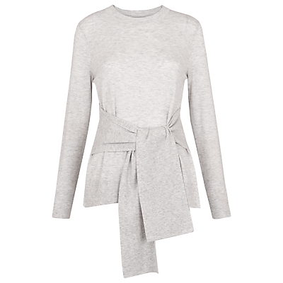 Tie Front Long Sleeve Knit Top - waist detail: belted waist/tie at waist/drawstring; predominant colour: light grey; occasions: casual; length: standard; style: top; fibres: cotton - mix; fit: body skimming; neckline: crew; sleeve length: long sleeve; sleeve style: standard; pattern type: fabric; pattern size: light/subtle; texture group: jersey - stretchy/drapey; pattern: marl; season: s/s 2016