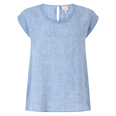 Linen Dye Shell Top, Blue - sleeve style: capped; style: t-shirt; predominant colour: pale blue; occasions: casual; length: standard; fibres: linen - 100%; fit: body skimming; neckline: crew; sleeve length: short sleeve; texture group: linen; pattern type: fabric; pattern size: light/subtle; pattern: marl; season: s/s 2016; wardrobe: highlight
