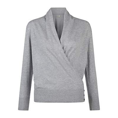 Florence Jumper, Soft Grey - neckline: v-neck; pattern: plain; style: faux wrap/wrap; predominant colour: light grey; occasions: casual; length: standard; fibres: cotton - stretch; fit: slim fit; sleeve length: long sleeve; sleeve style: standard; pattern type: fabric; texture group: jersey - stretchy/drapey; season: s/s 2016; wardrobe: highlight