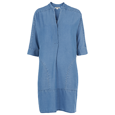 Denim Lulu Chambray Dress, Blue - style: tunic; length: mid thigh; fit: loose; pattern: plain; predominant colour: denim; occasions: casual, creative work; neckline: collarstand & mandarin with v-neck; fibres: viscose/rayon - 100%; sleeve length: half sleeve; sleeve style: standard; texture group: denim; pattern type: fabric; season: s/s 2016; wardrobe: basic