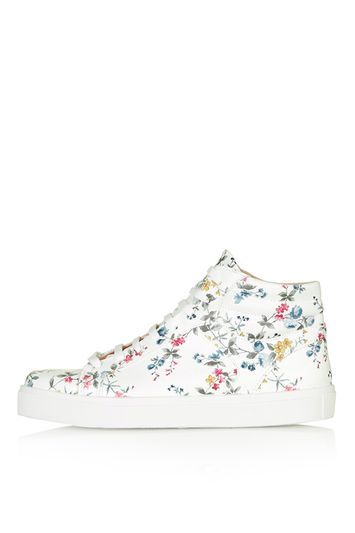 Cinger Floral High Top Sneakers - predominant colour: white; secondary colour: pink; occasions: casual; material: faux leather; heel height: flat; toe: round toe; finish: plain; pattern: florals; style: skate shoes; multicoloured: multicoloured; season: s/s 2016