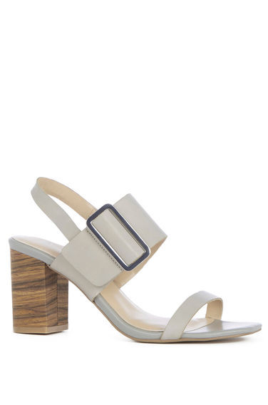Triple Strap Stacked Sandal - predominant colour: light grey; occasions: casual, creative work; material: leather; heel height: mid; heel: block; toe: open toe/peeptoe; style: strappy; finish: plain; pattern: plain; season: s/s 2016; wardrobe: investment