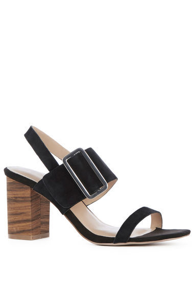 Triple Strap Stacked Sandal - predominant colour: black; occasions: casual, creative work; material: leather; heel height: mid; heel: block; toe: open toe/peeptoe; style: strappy; finish: plain; pattern: plain; season: s/s 2016; wardrobe: investment