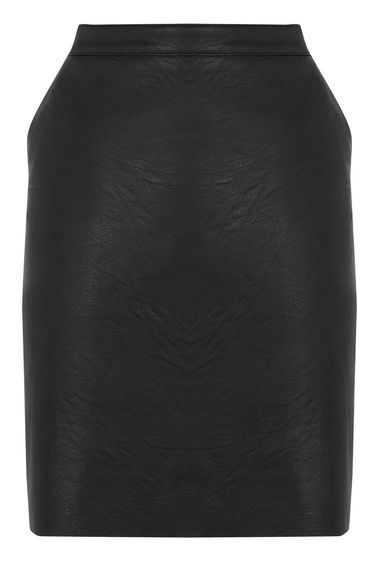 Faux Leather Clean Skirt - pattern: plain; style: straight; fit: tailored/fitted; waist: high rise; predominant colour: black; length: just above the knee; fibres: polyester/polyamide - 100%; texture group: leather; pattern type: fabric; occasions: creative work; season: s/s 2016; wardrobe: highlight