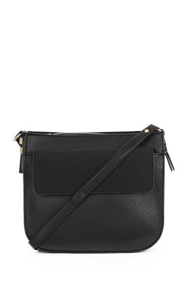Large Saddle Cross Body Bag - predominant colour: black; occasions: casual, creative work; type of pattern: standard; style: messenger; length: across body/long; size: standard; material: leather; pattern: plain; finish: plain; season: s/s 2016; wardrobe: basic