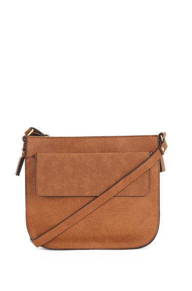 Small Saddle Cross Body Bag - predominant colour: tan; occasions: casual; type of pattern: standard; style: saddle; length: across body/long; size: small; pattern: plain; finish: plain; material: faux suede; season: s/s 2016; wardrobe: highlight