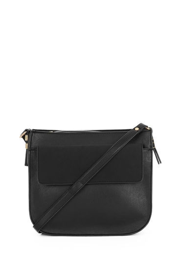 Small Saddle Cross Body Bag - predominant colour: black; occasions: casual, creative work; type of pattern: standard; style: saddle; length: across body/long; size: small; material: faux leather; pattern: plain; finish: plain; season: s/s 2016; wardrobe: basic