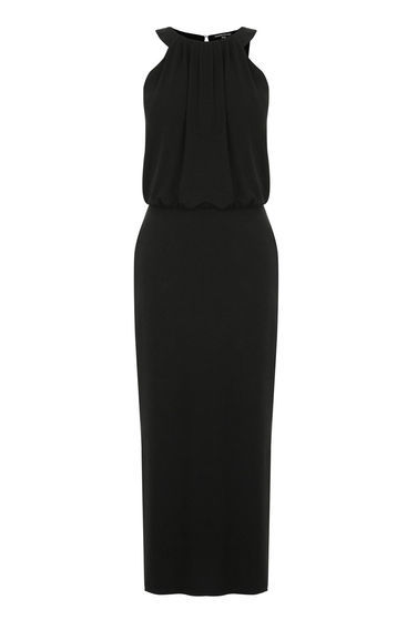 High Neck Midi Dress - pattern: plain; sleeve style: sleeveless; style: maxi dress; length: ankle length; waist detail: elasticated waist; predominant colour: black; occasions: evening, occasion; fit: body skimming; fibres: polyester/polyamide - stretch; sleeve length: sleeveless; pattern type: fabric; texture group: other - light to midweight; season: s/s 2016; neckline: high halter neck; wardrobe: event