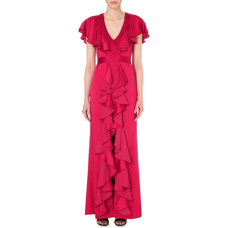 Ruffled Satin Gown, Women's, Orange/Red - neckline: low v-neck; sleeve style: angel/waterfall; pattern: plain; style: maxi dress; predominant colour: true red; occasions: evening, occasion; length: floor length; fit: body skimming; waist detail: ruffles at waist; sleeve length: short sleeve; texture group: crepes; pattern type: fabric; fibres: viscose/rayon - mix; season: s/s 2016