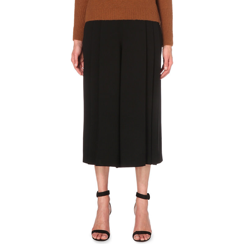 Pleated Woven Culottes, Women's, Black - pattern: plain; waist: mid/regular rise; predominant colour: black; length: calf length; fibres: polyester/polyamide - mix; fit: wide leg; pattern type: fabric; texture group: woven light midweight; style: standard; occasions: creative work; season: s/s 2016