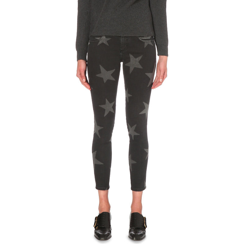 Star Print Skinny Mid Rise Jeans, Women's, Black - style: skinny leg; pocket detail: traditional 5 pocket; waist: mid/regular rise; predominant colour: black; occasions: casual; length: calf length; fibres: cotton - stretch; texture group: denim; pattern type: fabric; pattern: patterned/print; pattern size: big & busy (bottom); season: s/s 2016; wardrobe: highlight