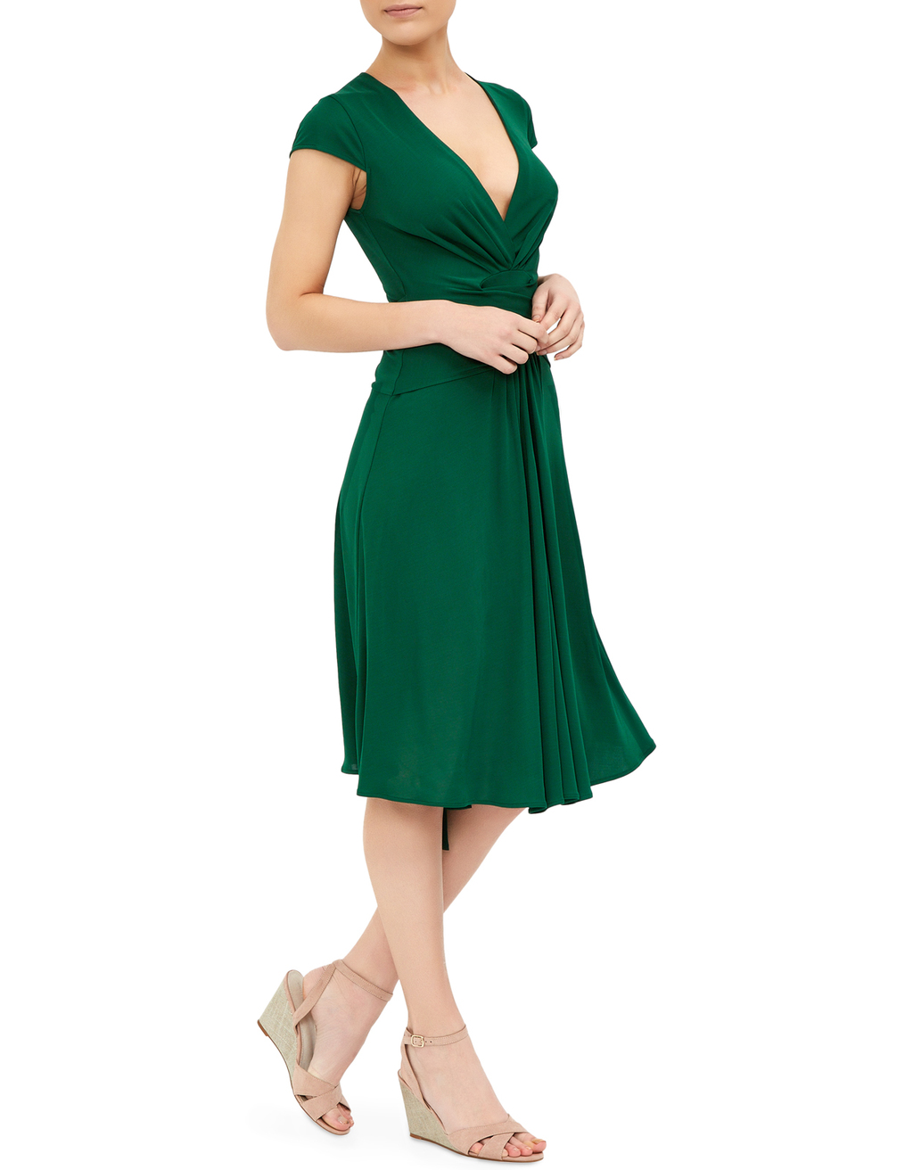 Fernanda Dress - style: faux wrap/wrap; neckline: v-neck; sleeve style: capped; pattern: plain; waist detail: flattering waist detail; predominant colour: emerald green; occasions: casual, evening, occasion; length: on the knee; fit: soft a-line; fibres: polyester/polyamide - stretch; hip detail: subtle/flattering hip detail; sleeve length: short sleeve; pattern type: fabric; texture group: jersey - stretchy/drapey; season: s/s 2016; wardrobe: highlight