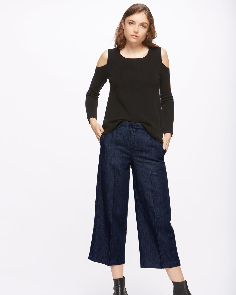 Indigo Crop Wide Leg Jeans - pattern: plain; waist: mid/regular rise; style: wide leg; predominant colour: navy; occasions: casual, creative work; length: calf length; fibres: cotton - stretch; jeans detail: dark wash; texture group: denim; pattern type: fabric; season: s/s 2016
