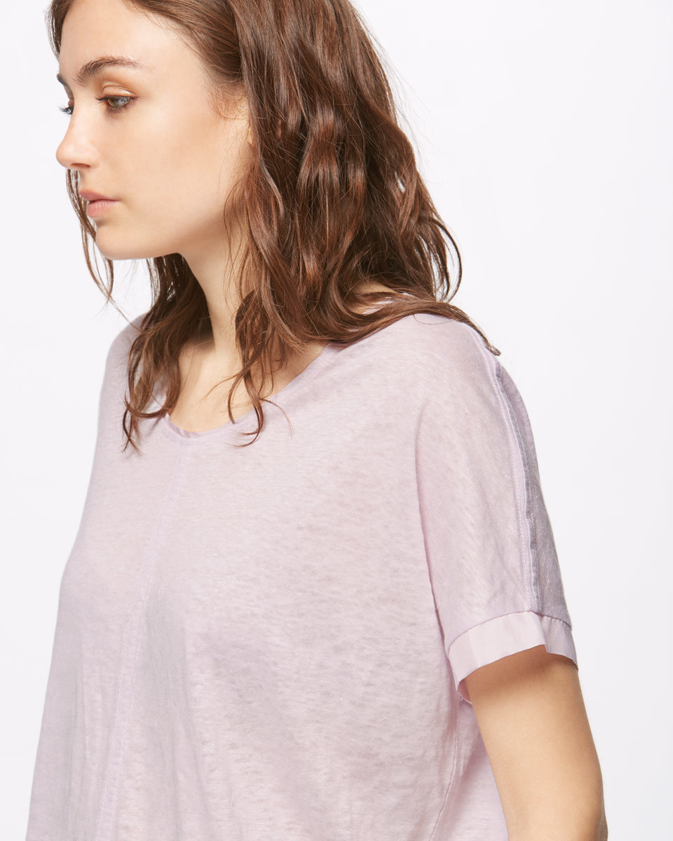 Seamed Linen Top With Silk Trim - neckline: round neck; pattern: plain; style: t-shirt; predominant colour: blush; occasions: casual; length: standard; fibres: linen - 100%; fit: body skimming; sleeve length: short sleeve; sleeve style: standard; texture group: linen; pattern type: fabric; season: s/s 2016; wardrobe: basic