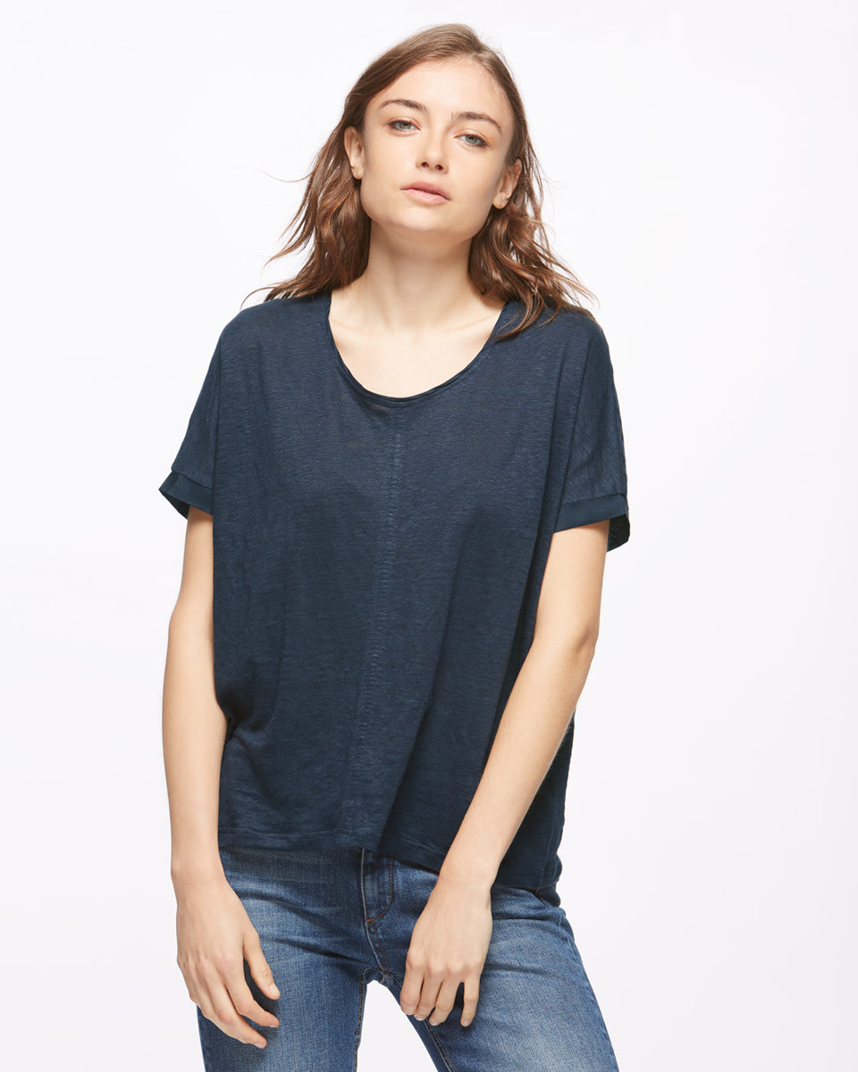 Seamed Linen Top With Silk Trim - pattern: plain; style: t-shirt; predominant colour: navy; occasions: casual; length: standard; fibres: linen - 100%; fit: loose; neckline: crew; sleeve length: short sleeve; sleeve style: standard; texture group: linen; pattern type: fabric; season: s/s 2016; wardrobe: basic