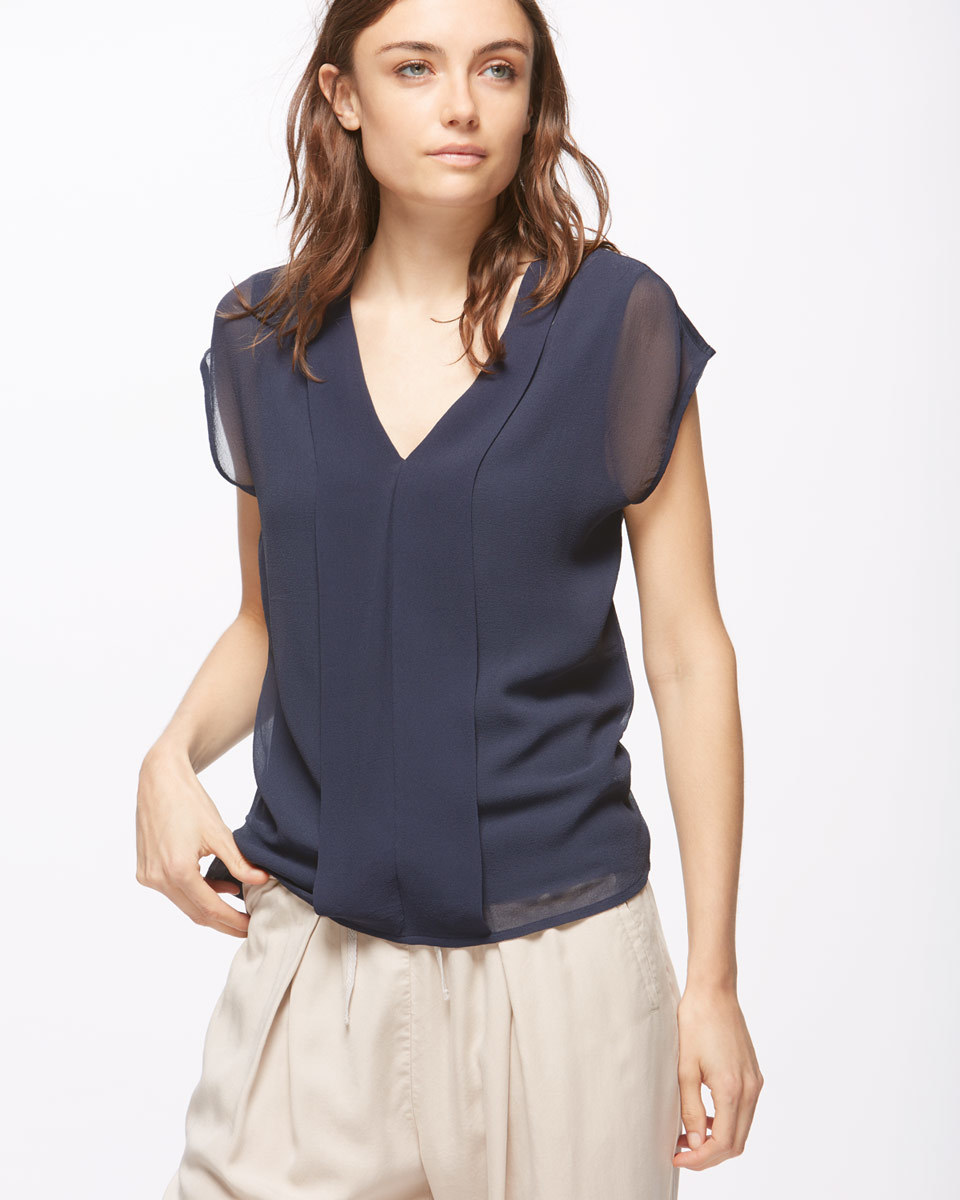 Silk Pleat Front Top - neckline: v-neck; pattern: plain; predominant colour: navy; occasions: evening; length: standard; style: top; fibres: silk - 100%; fit: body skimming; sleeve length: short sleeve; sleeve style: standard; texture group: silky - light; pattern type: fabric; season: s/s 2016