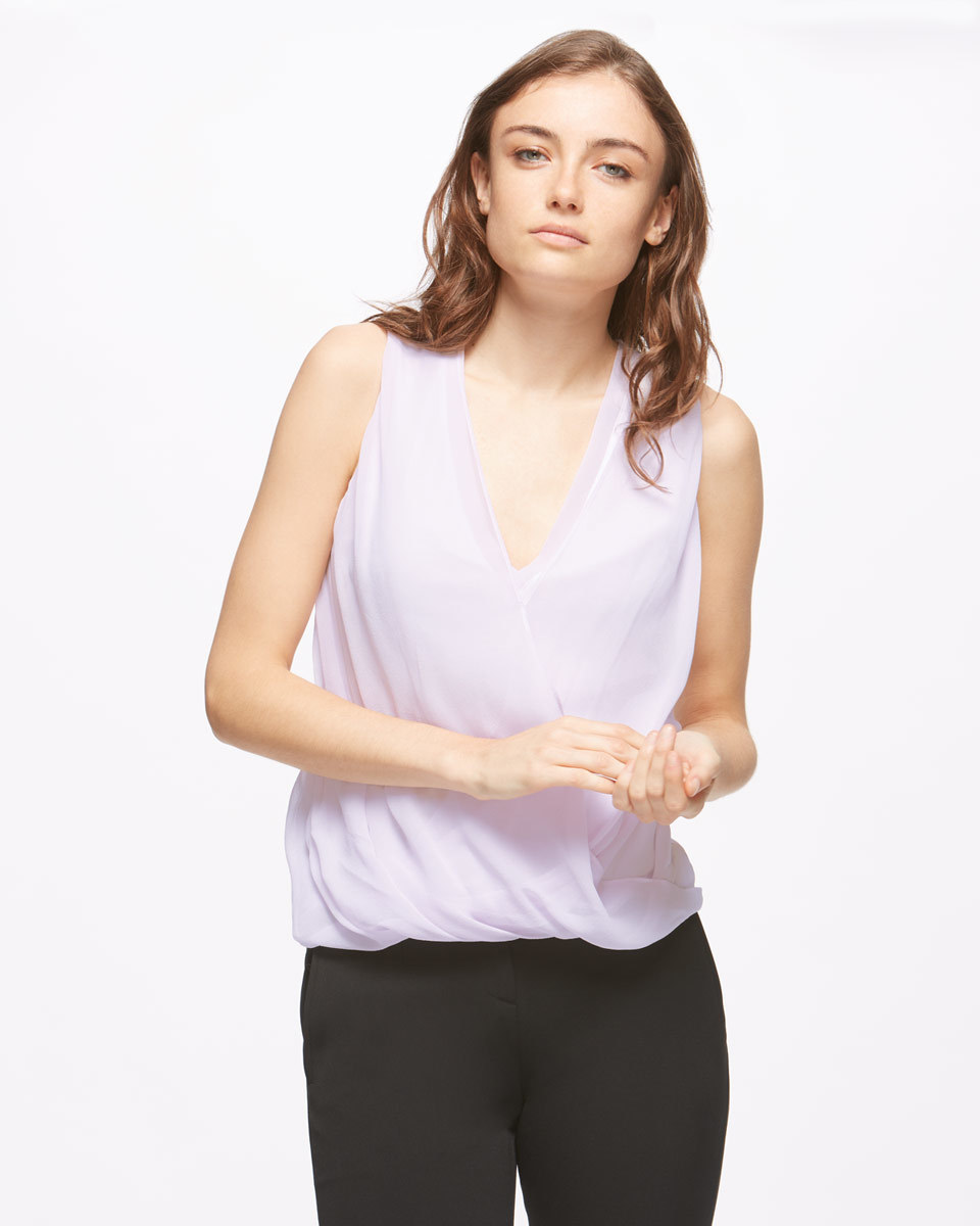 Silk Overlay Wrap Top - neckline: low v-neck; pattern: plain; sleeve style: sleeveless; style: wrap/faux wrap; predominant colour: lilac; length: standard; fibres: silk - 100%; fit: body skimming; sleeve length: sleeveless; pattern type: fabric; texture group: jersey - stretchy/drapey; occasions: creative work; season: s/s 2016; wardrobe: highlight