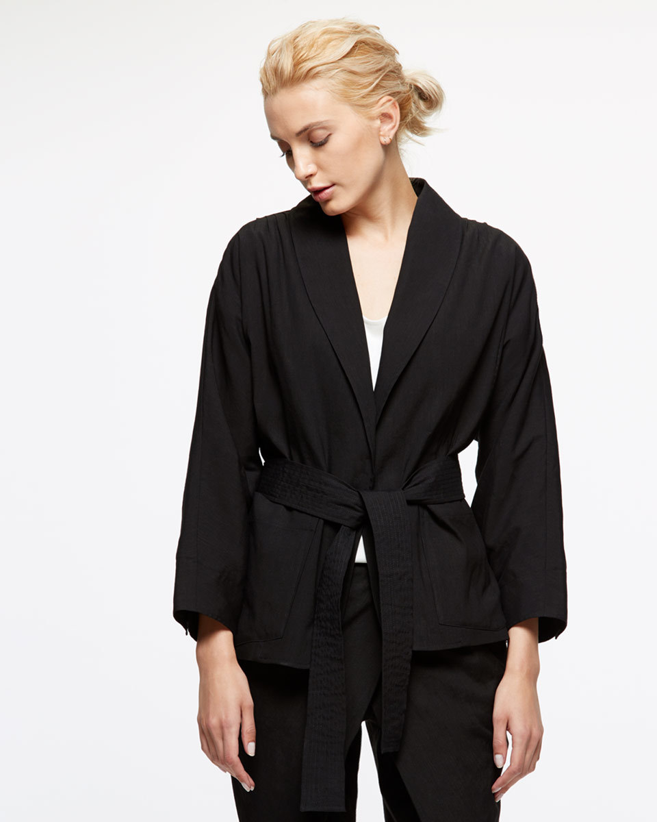 Kimono Wrap Jacket - pattern: plain; style: belted jacket; collar: standard lapel/rever collar; predominant colour: black; occasions: work, creative work; length: standard; fit: tailored/fitted; fibres: linen - 100%; waist detail: belted waist/tie at waist/drawstring; sleeve length: long sleeve; sleeve style: standard; texture group: linen; collar break: medium; pattern type: fabric; season: s/s 2016; wardrobe: investment