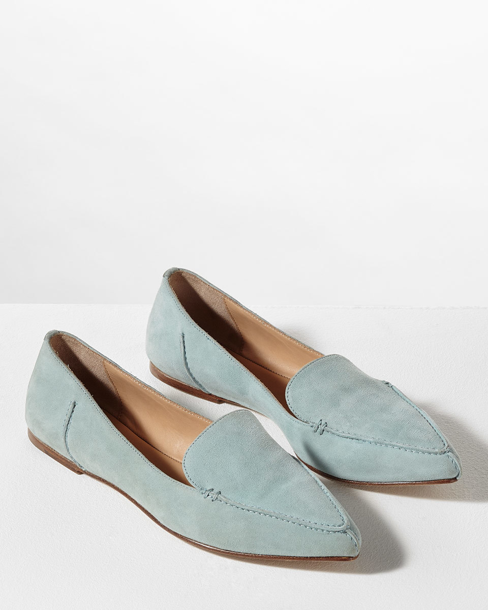 Celeste Stitch Pointed Flat - predominant colour: pale blue; occasions: casual, creative work; material: leather; heel height: flat; toe: pointed toe; style: loafers; finish: plain; pattern: plain; season: s/s 2016; wardrobe: highlight