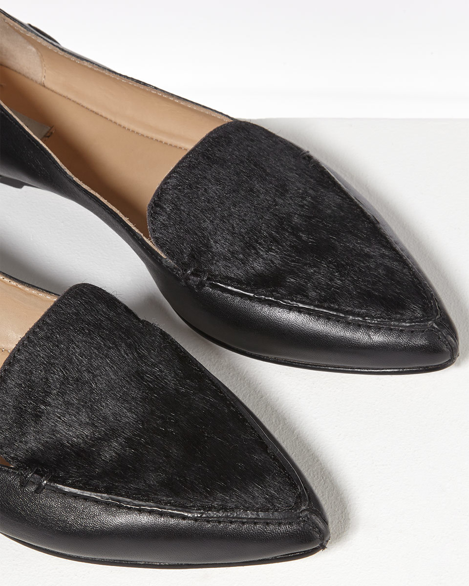 Celeste Stitch Pointed Flat - predominant colour: black; occasions: casual, creative work; material: leather; heel height: flat; toe: pointed toe; style: loafers; finish: plain; pattern: plain; season: s/s 2016; wardrobe: basic