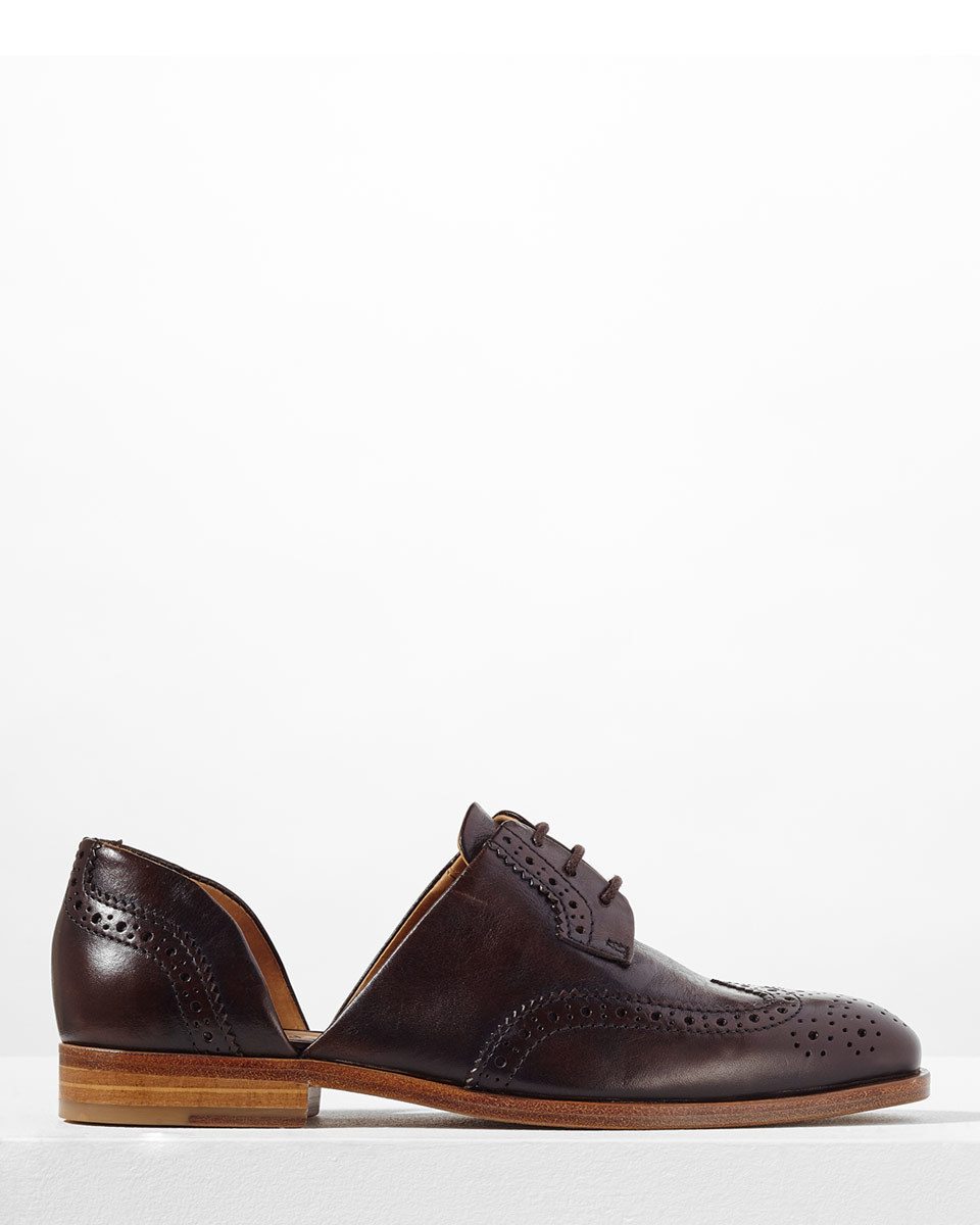 Medina Cutaway Brogue - predominant colour: chocolate brown; occasions: casual; material: leather; heel height: flat; toe: round toe; style: brogues; finish: plain; pattern: plain; season: s/s 2016; wardrobe: basic