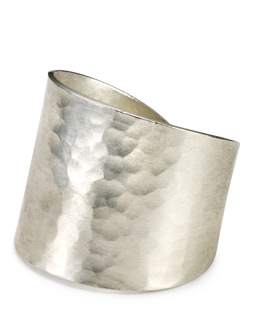 Made Hammered Wide Ring - predominant colour: silver; occasions: evening, occasion, creative work; style: cuff; size: standard; material: chain/metal; finish: metallic; season: s/s 2016; wardrobe: highlight