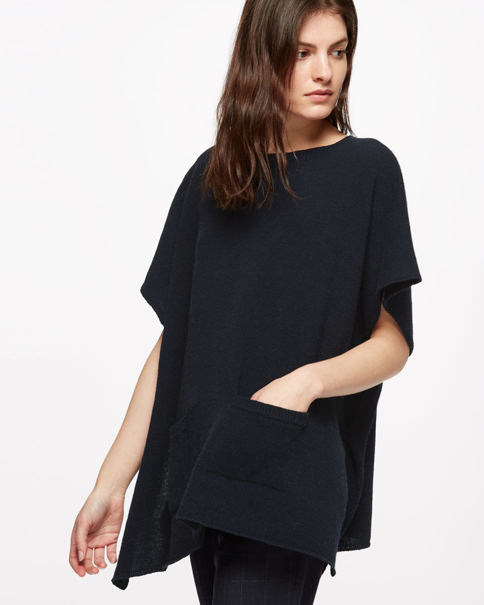 Pocket Poncho - neckline: round neck; pattern: plain; sleeve style: kimono; length: below the bottom; predominant colour: navy; occasions: casual; style: top; fibres: wool - mix; fit: loose; sleeve length: half sleeve; pattern type: fabric; texture group: jersey - stretchy/drapey; season: s/s 2016; wardrobe: basic