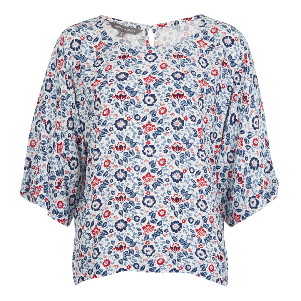 Dolman Sleeve Floral Blouse - neckline: slash/boat neckline; length: below the bottom; style: blouse; predominant colour: ivory/cream; occasions: casual, creative work; fibres: viscose/rayon - 100%; fit: loose; sleeve length: 3/4 length; sleeve style: standard; pattern type: fabric; pattern: florals; texture group: woven light midweight; multicoloured: multicoloured; season: s/s 2016; wardrobe: highlight
