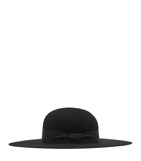 Amanda Wide Brim Hat - predominant colour: black; occasions: casual; type of pattern: standard; style: wide brimmed; size: large; material: felt; pattern: plain; embellishment: bow; season: s/s 2016; wardrobe: highlight