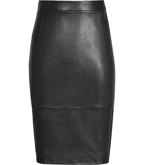 Avril Leather Panel Skirt - pattern: plain; style: pencil; fit: tailored/fitted; waist: high rise; predominant colour: black; occasions: evening, work, creative work; length: just above the knee; fibres: leather - 100%; texture group: leather; pattern type: fabric; season: s/s 2016; wardrobe: highlight