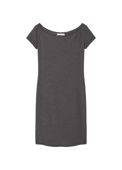 Fitted Textured Dress - style: shift; neckline: slash/boat neckline; pattern: plain; predominant colour: charcoal; occasions: evening, work, creative work; length: just above the knee; fit: body skimming; fibres: polyester/polyamide - stretch; sleeve length: short sleeve; sleeve style: standard; pattern type: fabric; texture group: jersey - stretchy/drapey; season: s/s 2016