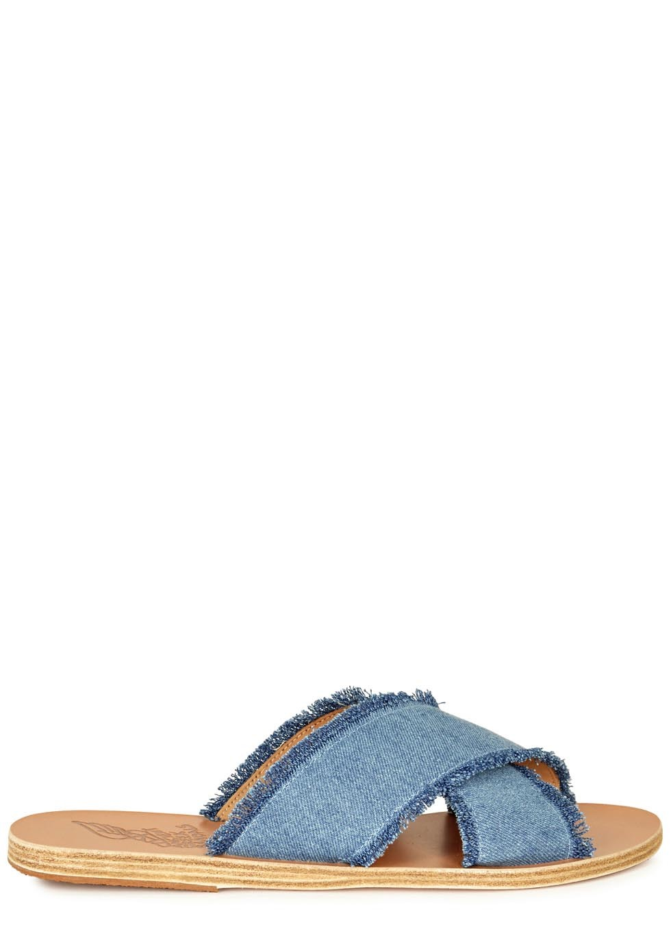 Thais Blue Frayed Denim Sliders - predominant colour: denim; occasions: casual, holiday; material: fabric; heel height: flat; heel: wedge; toe: open toe/peeptoe; style: slides; finish: plain; pattern: plain; season: s/s 2016; wardrobe: highlight