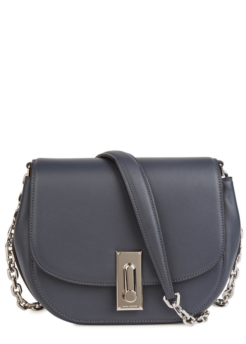 West End Jane Grey Leather Shoulder Bag - secondary colour: silver; predominant colour: mid grey; occasions: casual, creative work; type of pattern: standard; style: saddle; length: across body/long; size: standard; material: leather; pattern: plain; finish: plain; season: s/s 2016; wardrobe: basic